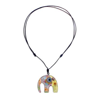 Bohemian Ceramic Elephant Pendant Necklace from Thailand