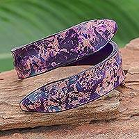 Leather wrap bracelet, 'Abstract Speckle in Purple' - Abstract Design Leather Wrap Bracelet in Purple