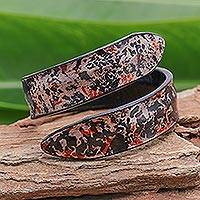 Leather wrap bracelet, 'Abstract Speckle in Black' - Abstract Design Leather Wrap Bracelet in Black from Thailand