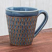 Celadon ceramic mug, 'Ginger Blue Honeycomb' - Handcrafted Blue Incised Celadon Ceramic Mug