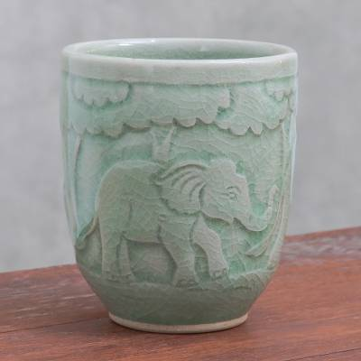Celadon ceramic teacup, 'Elephant Forest' - Elephant-Themed Celadon Ceramic Teacup from Thailand