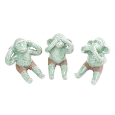 Celadon Ceramic Wise Monkey Figurines (Set of 3)