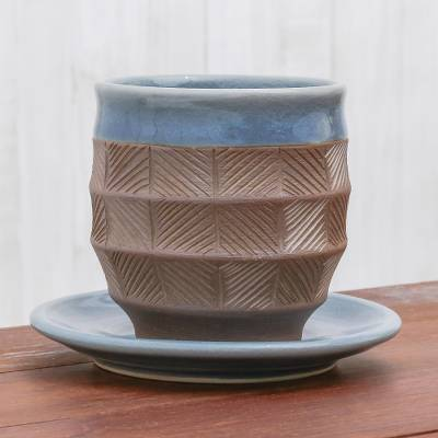 Celadon ceramic cup and saucer, 'Comfort Etches' - Blue and Brown Celadon Ceramic Cup and Saucer from Thailand