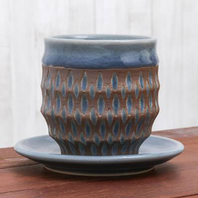 Celadon ceramic cup and saucer, 'Blue Falls' - Rain Motif Celadon Ceramic Cup and Saucer from Thailand