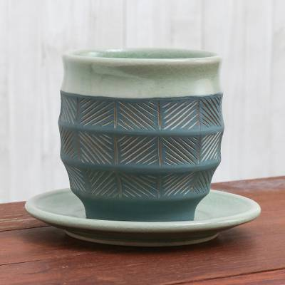 Celadon ceramic cup and saucer, 'Verdant Comfort' - Celadon Ceramic Cup and Saucer in Green from Thailand
