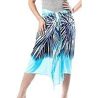 Cotton sarong, 'Lovely Mist' - Hand-Painted Cotton Sarong in Blue from Thailand