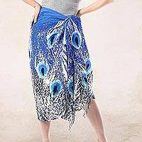 Cotton sarong, 'Peacock Majesty' - Peacock Motif Hand-Painted Cotton Sarong from Thailand