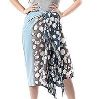 Cotton sarong, 'Azure Bubbles' - Bubble Motif Cotton Sarong in Blue from Thailand