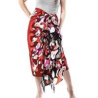 Cotton sarong, 'Crimson Dance' - Hand-Painted Cotton Sarong in Crimson from Thailand