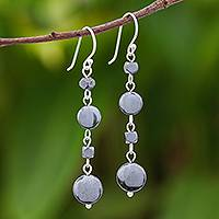 Hematite dangle earrings, 'Grey Gleam' - Natural Hematite Dangle Earrings from Thailand