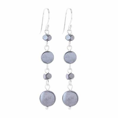 Natural Hematite Dangle Earrings from Thailand