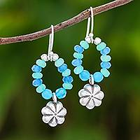 Quartz beaded dangle earrings, 'Floral Ocean' - Floral Quartz Beaded Dangle Earrings from Thailand