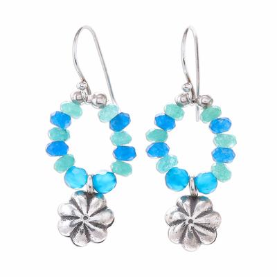 Floral Quartz Beaded Dangle Earrings from Thailand