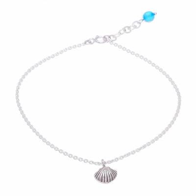 Sea Life-Themed Karen Silver and Quartz Anklet from Thailand