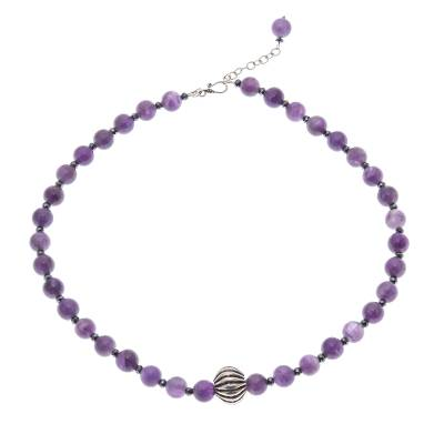 Amethyst and Hematite Beaded Necklace from Thailand