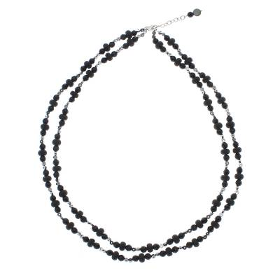 Onyx and Hematite Beaded Strand Necklace from Thailand