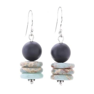 Jasper Disc and Onyx Beaded Dangle Earrings from Thailand