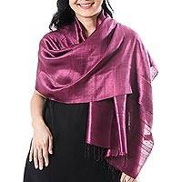 Silk scarf, 'Otherworldly in Plum'