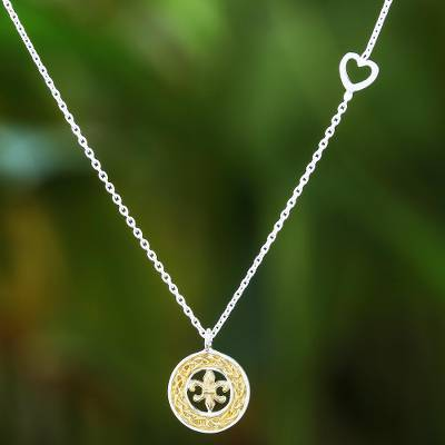 Gold accented sterling silver pendant necklace, 'Lovely Fleur De Lis' - Gold Accented Sterling Silver Fleur De Lis Necklace