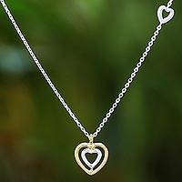 Gold accented sterling silver pendant necklace, 'Lovely Heart' - Heart-Shaped Gold Accented Sterling Silver Pendant Necklace