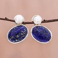 Lapis lazuli and cultured pearl drop earrings, 'Star and Moon' - Lapis Lazuli and Cultured Pearl Drop Earrings from Thailand