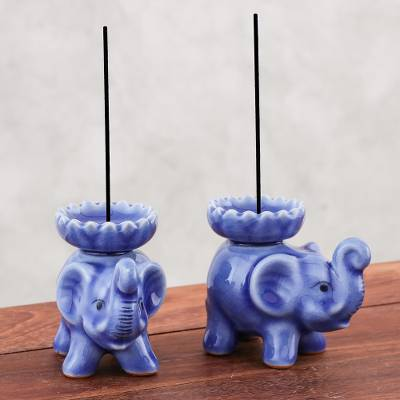 Celadon ceramic incense holders, 'Baby Elephants in Blue' (pair) - Celadon Ceramic Elephant Incense Holders in Blue (Pair)