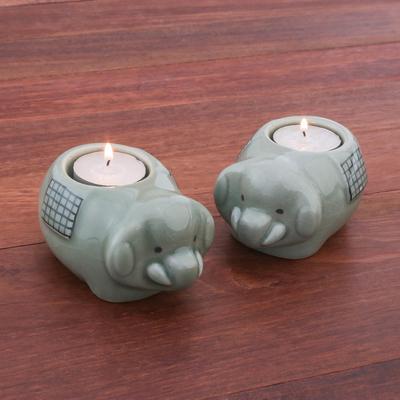 Cute Elephant Celadon Ceramic Tealight Holders Pair Cute Elephants In Green Novica
