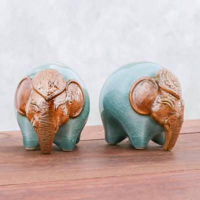 Celadon ceramic salt and pepper shakers, 'Round Elephants in Green' (pair) - Celadon Ceramic Elephant Salt and Pepper Shakers (Pair)