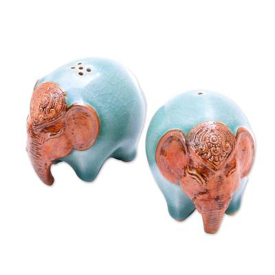 Celadon Ceramic Elephant Salt and Pepper Shakers (Pair)