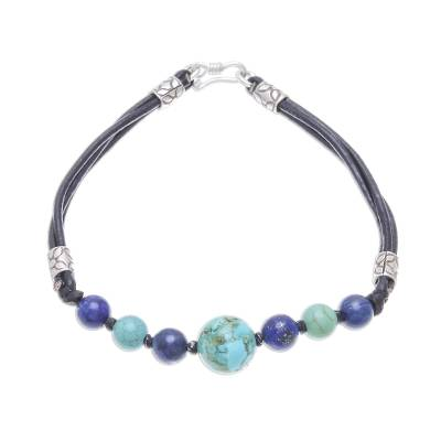 Howlite and lapis lazuli beaded bracelet, 'Cool Candy' - Howlite and Lapis Lazuli Beaded Bracelet from Thailand