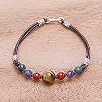 Multi-gemstone beaded bracelet, 'Playful Rainbow' - Multi-Gemstone Beaded Bracelet Crafted in Thailand