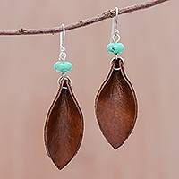Reconstituted turquoise and leather dangle earrings, 'Brown Leaves' - Recon. Turquoise and Leather Leaf Dangle Earrings