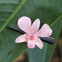 Natural orchid hair clip, 'Pink Orchid Love' - Natural Pale Pink Thai Orchid Hair Clip