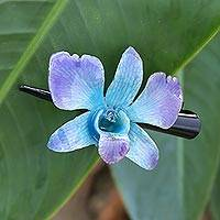 Natural orchid hair clip, 'Blue-Violet Orchid Love' - Natural Blue-Violet Thai Orchid Hair Clip