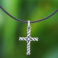 Sterling silver pendant necklace, 'Beacon Cross' - Artisan Crafted Thai Sterling Silver Cross Necklace with CZ
