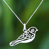 Sterling silver pendant necklace, 'Curling Feathers'