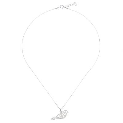 Sterling silver pendant necklace, 'Curling Feathers' - Curl Pattern Sterling Silver Bird Pendant Necklace