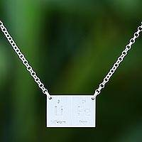 Sterling silver pendant necklace, 'Formula for Life'