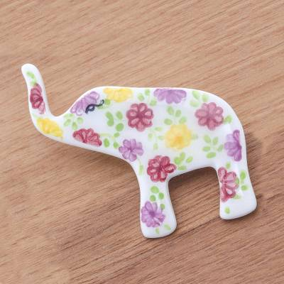 Ceramic brooch pin, 'Pretty Floral Elephant' - White Elephant Hand Painted Brooch Pin with Flowers