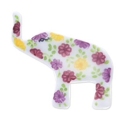 White Elephant Hand Painted Brooch Pin with Flowers