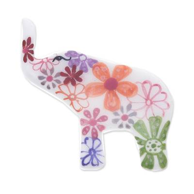 Hand Painted Elephant Brooch Pin with Flowers on White