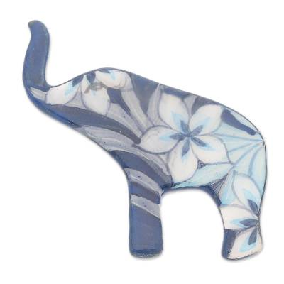 Hand Painted Blue Elephant Brooch Pin with Flowers