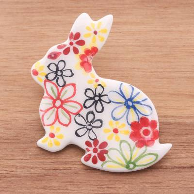 Ceramic brooch pin, 'White Floral Rabbit' - Hand Painted White Rabbit Brooch Pin with Flowers