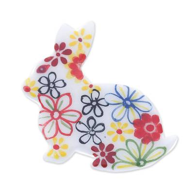 Hand Painted White Rabbit Brooch Pin with Flowers