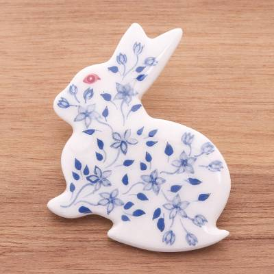 Ceramic brooch pin, 'Blue and White Floral Rabbit' - Bunny Rabbit Brooch Pin with Hand Painted Flowers