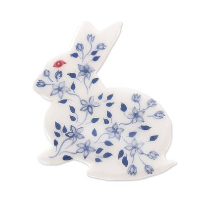 Bunny Rabbit Brooch Pin with Hand Painted Flowers