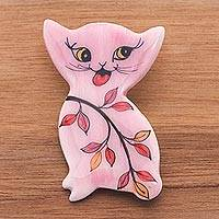 Ceramic brooch pin, 'Cat in a Garden' - Hand Painted Thai Pink Kitty Cat Brooch Pin