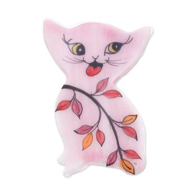 Hand Painted Thai Pink Kitty Cat Brooch Pin