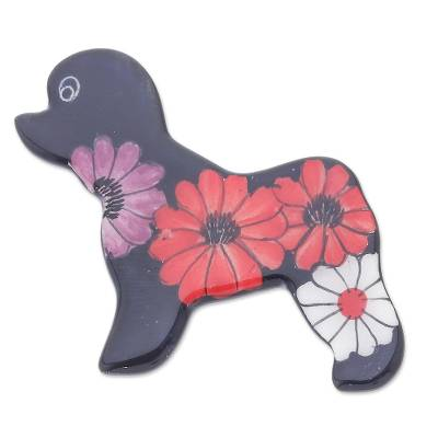 Hand Painted Black Poodle Dog Brooch Pin with Flowers