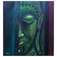 'Serene Buddha' - Expressionist Buddha Painting in Green from Thailand